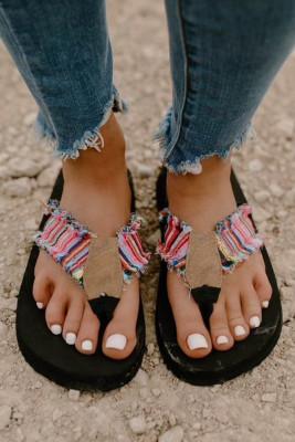 Woven Flat Flip Flops Sandals