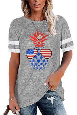 USA Flag Pineapple Print Graphic Tees for Women UNISHE Wholesale Short Sleeve T shirts Top