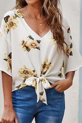 Floral Print Tie Front V-neck Blouse Top Women UNISHE Wholesale