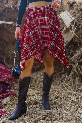 Wine Red Plaid Irregular Hem Skirt Unishe Wholesale