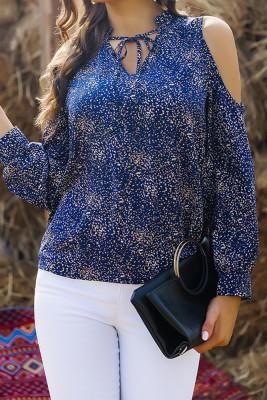 Blue Leopard Cold Shoulder V-neck Blouse Top Women UNISHE Wholesale