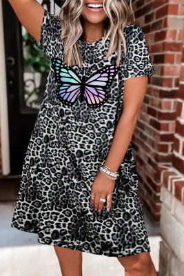 Butterfly Leopard Printed O-Neck Short Sleeve Dress  Unishe Wholesale