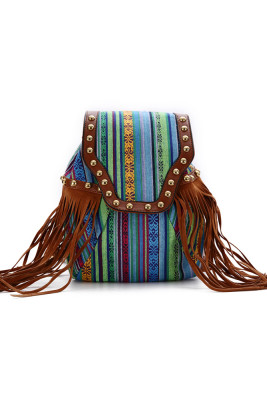 Colorful Stripe Trendy Backpack with Tassels