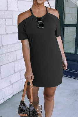 Solid Cold Shoulder Short Sleeve Mini Dress Unishe Wholesale