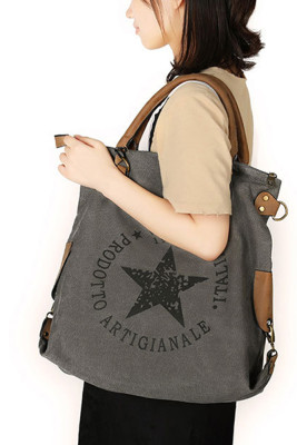 Star & Letters Printed Canvas Tote Bag Unishe Wholesale