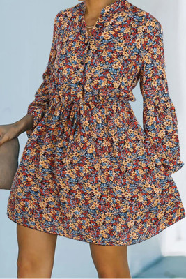 Floral Print Tie Waist V-neck Long Sleeve Mini Dress Unishe Wholesale
