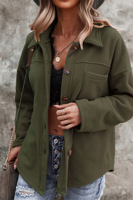 Turn Down Collar Pocket Button Closure Warm Shacket Women UNISHE Wholesale