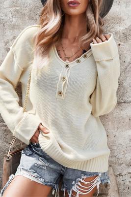 V-neck Button Front Knit Sweater Women UNISHE Wholesale