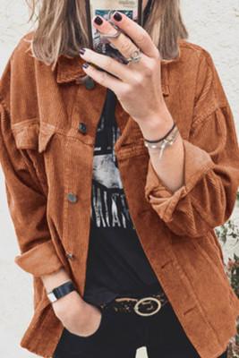 Turn Down Collar Pockets Button Corduroy Jacket Women UNISHE Wholesale