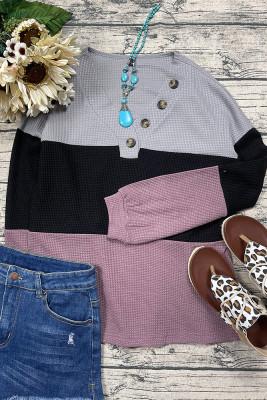 Fashion Contrast Knit  V-neck Long Sleeve Top