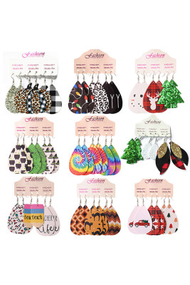 3 pcs Water Drop Shape Leather Earrings Sets Unishe Wholesale