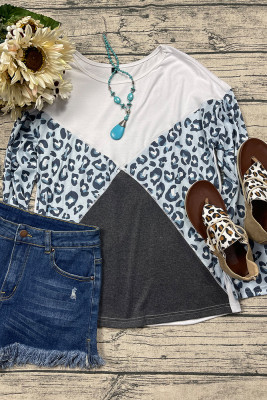 Gray Leopard Splicing Long Sleeve Top
