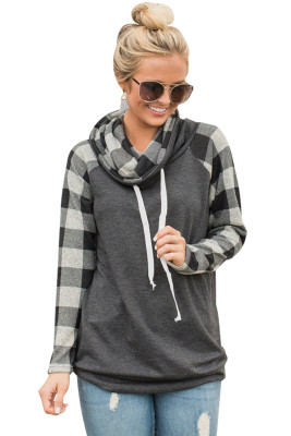 Plaid Sleeve and Cowl Neck Gray Drawstring Sweatshirt