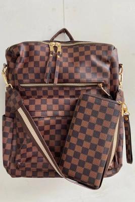Retro Plaid Backpack & Purse Set Unishe Wholesale