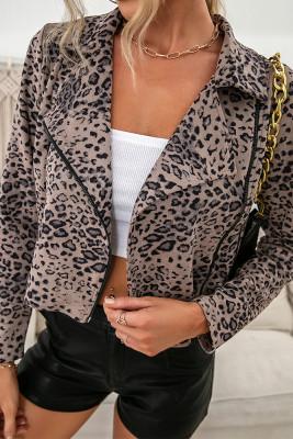 Turn Down Collar Leopard Button Closure Zipper Jacket Women UNISHE Wholesale