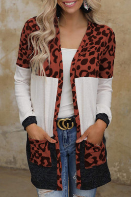 Brown Leopard Block Cardigan with Pockets