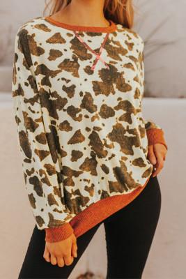 Brown Oversized Crew Neck Animal Print Sweatshirt with Slits