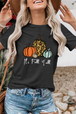 Pumpkins Print Graphic Tees for Women UNISHE Wholesale Short Sleeve T shirts Top