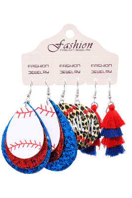 3 pcs Set Leather Baseball Print Chrismas Earrings Unishe Wholesale