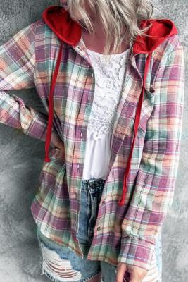 Plaid Button Closure Hooded Shirt Women UNISHE Wholesale