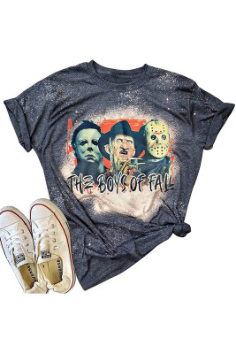 Halloween Bleached Print O-neck Graphic Tees for Women UNISHE Wholesale Short Sleeve T shirts Top