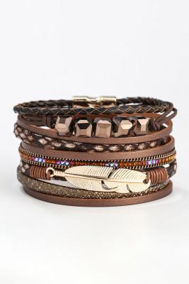 Feather Leather Decor Woven Bracelet Unishe Wholesale