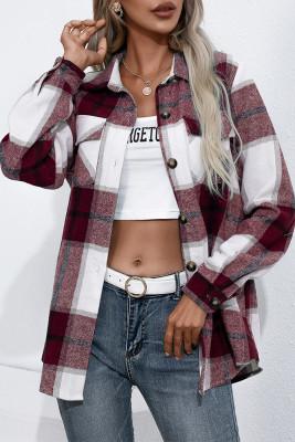 Plaid Button Down Pocketed Shacket Jacket Coats Women UNISHE Wholesale