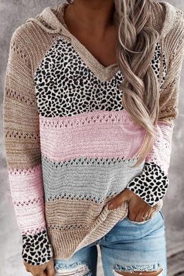 Leopard Colorblock Hooded Sweaters UNISHE Wholesale