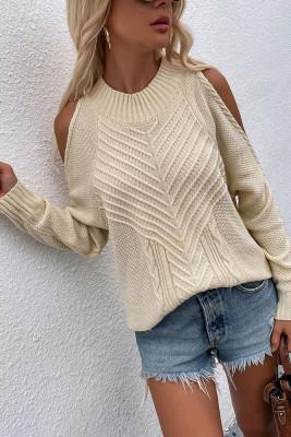 Cold Shoulder Knit O-neck Sweater UNISHE Wholesale