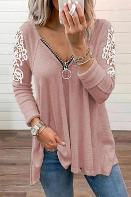 Lace Splicing Zipper V-neck Long Sleeve Top UNISHE Wholesale