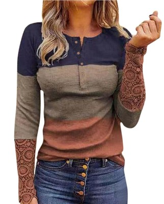 Color Block Lace Sleeve Splicing Long Sleeve Top