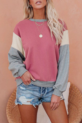 Colorblock O-neck Long Sleeve Top UNISHE Wholesale