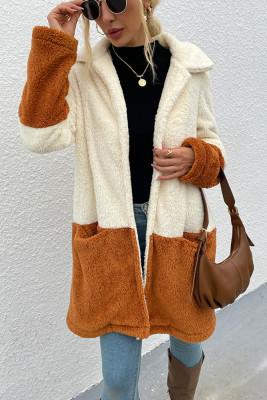 Lapel Collar Colorblock Long Fuzzy Coat Women UNISHE Wholesale