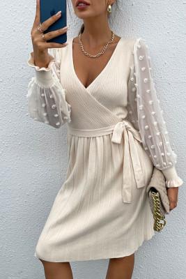Swiss Dot Mesh Splicing V-neck Sweater Dress Unishe Wholesale