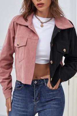 Colorblock Corduroy Buttons Up Crop Jacket Unishe Wholesale