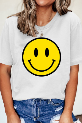 Smiley Printed Graphic Tees for Women UNISHE Wholesale Short Sleeve T shirts Top