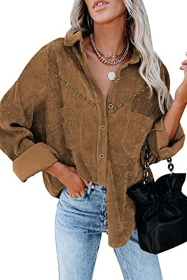 Corduroy With Metal Patch Buttoned Jacket Unishe Wholesale