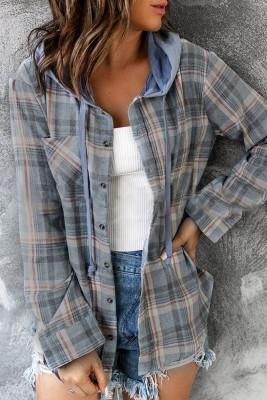Plaid Button Front Hoodies Shacket Shirt Women UNISHE Wholesale