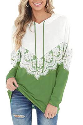 Lace Hoodies Pathwork Long Sleeves Tops Women Unishe Wholesale
