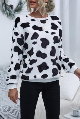 Cow Print Sweatshirts Crew Neck Long Sleeves Tops Unishe Wholesale