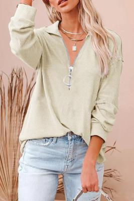 Lapel Neck Zip Long Sleeves Top Unishe Wholesale