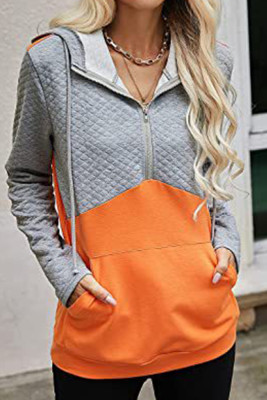 Zip Hoodies Patchwork Long Sleeves Tops Unishe Wholesale