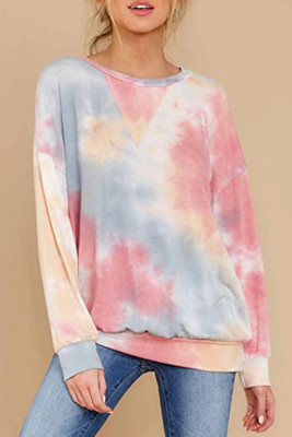 Tie-dye Printed Crew Neck Long Sleeve Tops Unishe Wholesale