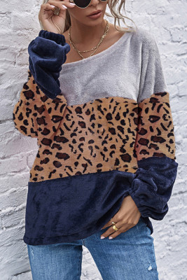 Leopard Cow Print Plush Sweatshirts Colour Blocked Tops