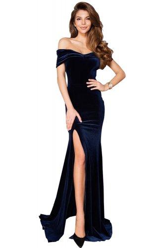 bdaf0ae28b5 Blue Off-shoulder Side Slit Velvet Maxi Party Dress