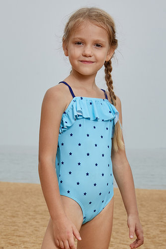 2895f918dba13 Little Stars Print Turquoise Little Girls Maillot TZ410056