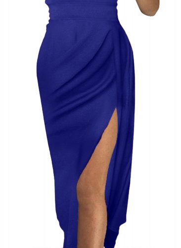 a802f2328e4 Blue Off Shoulder Short Sleeve Party Dress LC611085