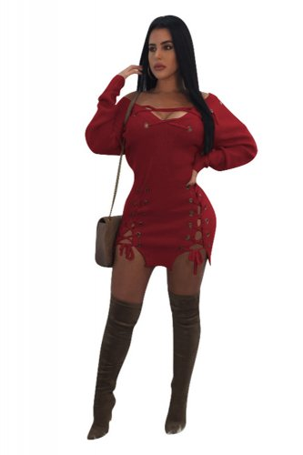 535c1f61fbb96 Wine Red Deep V Neck Sexy Long Sleeve Bodycon Mini Dresses Banding Knitted Sweater  Dress