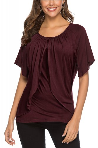fd9ce90d7 Wine Red Comfy Casual Short Sleeve Tops Blouse Loose Tunic T Shirts