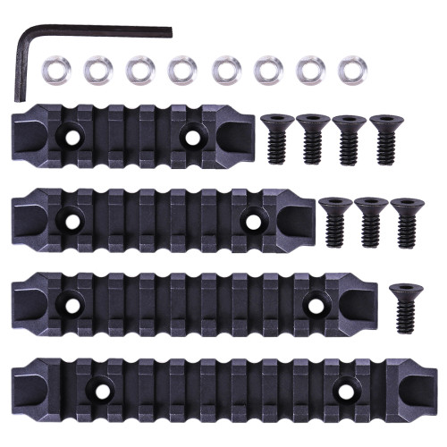 4Pcs Jingji Nylon Keymod Rails for RIS/RAS/Rails with Keymod System - Black